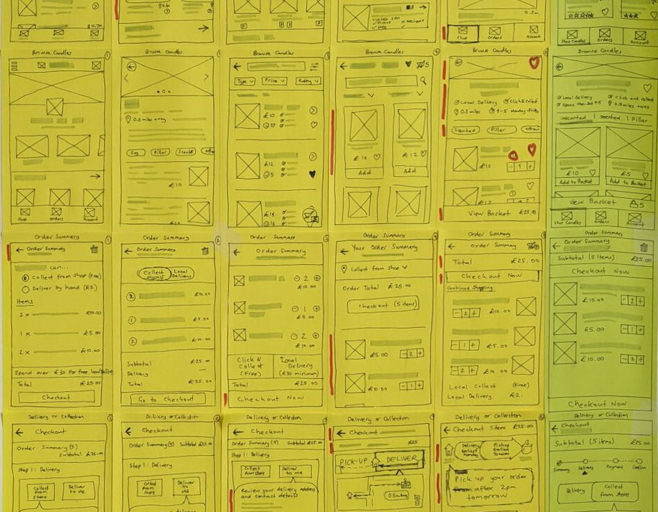 Excerpt from the set of paper wireframes created for the app